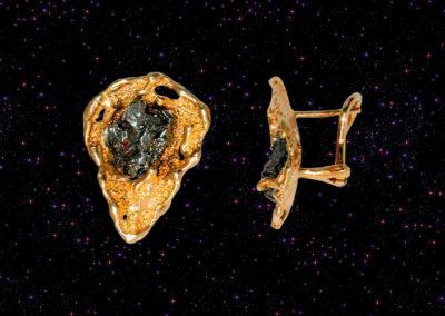 Kolczyki z meteorytem