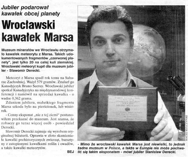 Galeria Derecki Wrocław meteoryt z marsa w Muzeum minerałów we Wrocławiu