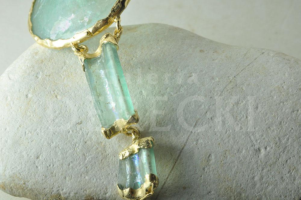 Szklano-złota bransoleta